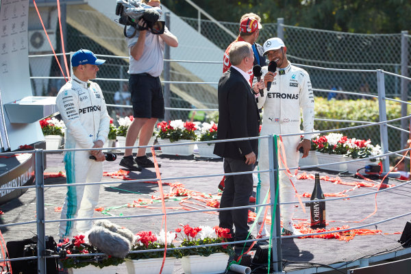 Autodromo Nazionale di Monza, Italy. Sunday 3 September 2017. Martin Brundle, Sky Sports F1, interviews Lewis Hamilton, Mercedes AMG, 1st Position, on the podium. World Copyright: Steve Etherington/LAT Images  ref: Digital Image SNE14660