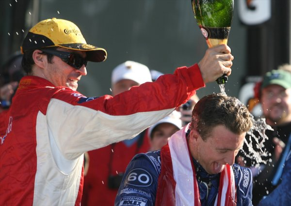 26-29 January, 2012, Daytona Beach, Florida USA AJ Allmendinger, right, is doused with champagne in Victory Lane following the Rolex 24 at Daytona. (c)2012, R.D. Ethan LAT Photo USA