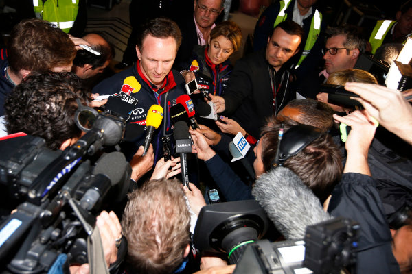 Albert Park, Melbourne, Australia. Sunday 16 March 2014. Christian Horner, Team Principal, Red Bull Racing, addresses the media regarding the disqualification of the car of Daniel Ricciardo, Red Bull Racing. World Copyright: Charles Coates/LAT Photographic. ref: Digital Image _J5R6632