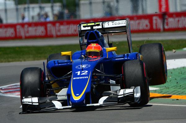 Felipe Nasr (BRA) Sauber C34 jumps across the kerb at Formula One World Championship, Rd7, Canadian Grand Prix, Qualifying, Montreal, Canada, Saturday 6 June 2015. BEST IMAGE