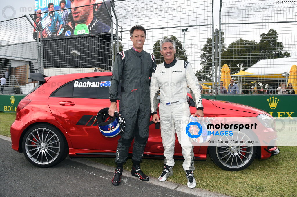 Gabriele Mazzarolo (ITA) CEO Alpinestars and Mick Doohan at Formula One World Championship, Rd1, Australian Grand Prix, Qualifying, Albert Park, Melbourne, Australia, Saturday 14 March 2015.