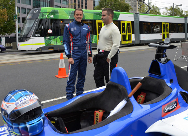 Cameron McConville (AUS) and Zsolt Baumgartner (HUN) at Parliament House with the Australian Grand Prix Swisse Two-Seater at Formula One World Championship, Rd1, Australian Grand Prix, Preparations, Albert Park, Melbourne, Australia, 6 March 2015.