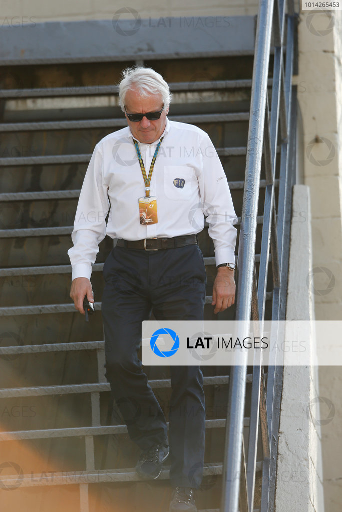 Interlagos, Sao Paulo, Brazil. Friday 7 November 2014. Charlie Whiting, Race Director, FIA. World Copyright: Charles Coates/LAT Photographic. ref: Digital Image _J5R3331
