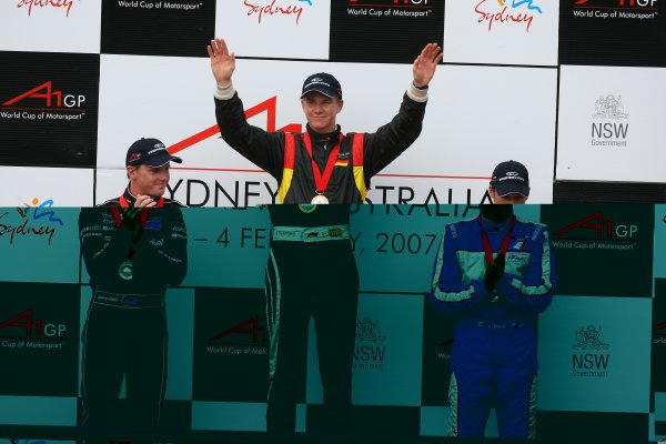 04.02 2007 Eastern Creek, Australia, L-R 2nd place Jonny Reid, Driver of A1Team New Zealand with 1st place Nico Hülkenberg, Driver of A1Team Germany and 3rd place Loic Duval, Driver of A1Team France /- A1GP World Cup of Motorsport 2006/07, Round 7, Eastern Creek, Sunday Race 1 - Copyright A1GP - Free for editorial usage