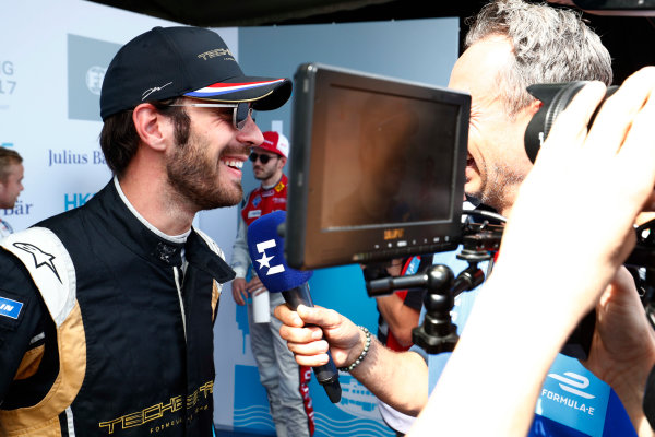 2017/2018 FIA Formula E Championship. Round 1 - Hong Kong, China. Saturday 02 December 2017. Jean Eric Vergne (FRA), TECHEETAH, Renault Z.E. 17, talks to the media after taking Pole Position. Photo: Sam Bloxham/LAT/Formula E ref: Digital Image _J6I4417