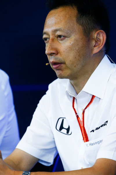Spa Francorchamps, Belgium.  Friday 25 August 2017. Yusuke Hasegawa, Senior Managing Officer, Honda, in the Team Principals Press Conference. World Copyright: Andy Hone/LAT Images  ref: Digital Image _ONZ9469
