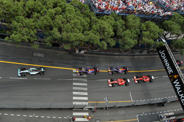 Nico Rosberg (GER) Mercedes AMG F1 W05 leads Lewis Hamilton (GBR) Mercedes AMG F1 W05 at the start of the race.Formula One World Championship, Rd6, Monaco Grand Prix, Race, Monte-Carlo, Monaco, Sunday 25 May 2014.BEST IMAGE