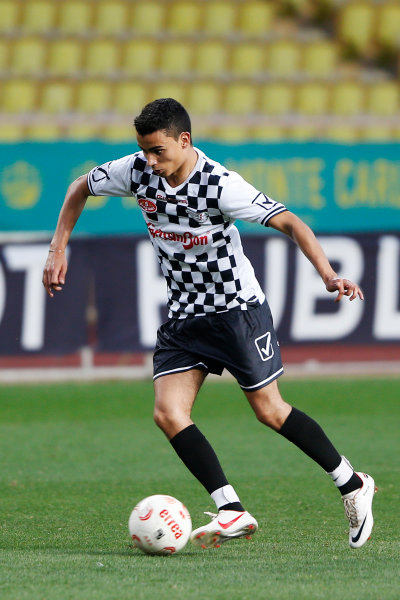 Monte Carlo, Monaco. Tuesday 19 May 2015. Pascal Wehrlein, Reserve Driver, Mercedes AMG, at the 22nd World Stars football match. World Copyright: Charles Coates/LAT Photographic. ref: Digital Image _N7T9947