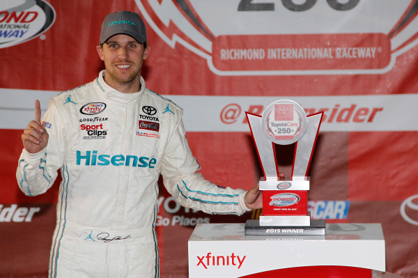 24 April, 2015, Richmond, Virginia USA Denny Hamlin, Hisense Toyota Camry in victory lane ?2015, Matthew T. Thacker LAT Photo USA