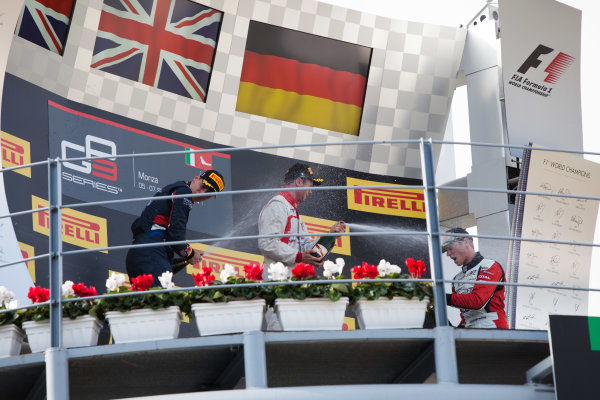 2014 GP3 Series. Round 7.   Autodromo di Monza, Monza, Italy. Sunday 7 September 2014. Alex Lynn (GBR, Carlin), Dean Stoneman (GBR, Marussia Manor Racing) and Marvin Kirchhofer (GER, ART Grand Prix). Photo: Zak Mauger/GP3 Series Media Service. ref: Digital Image IMG_9494