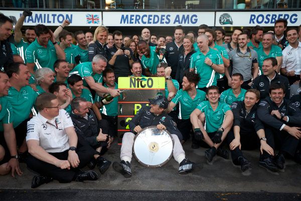 Albert Park, Melbourne, Australia. Sunday 16 March 2014. Nico Rosberg, Mercedes AMG, 1st Position, celebrates with his team. World Copyright: Steve Etherington/LAT Photographic. ref: Digital Image SNE13860 copy