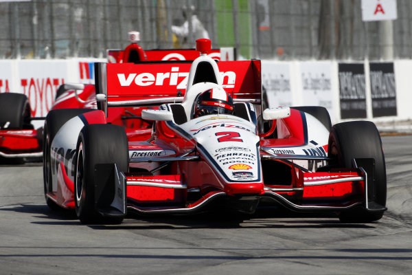 11-13 April, 2014, Long Beach, California USA Juan Pablo Montoya leads Tony kanaan ©2014, Phillip Abbott LAT Photo USA