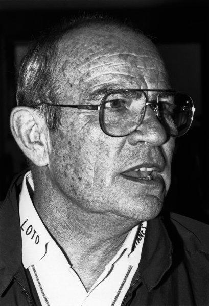 1989 Formula One World Championship. Guy Ligier, portrait. World Copyright: LAT Photographic.  Ref:  B/W Print.
