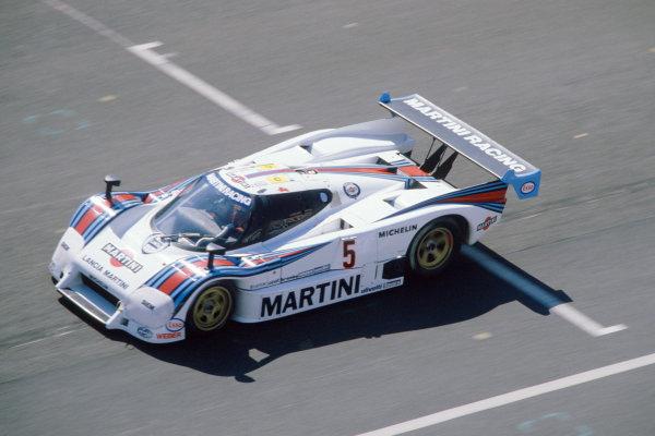 1985 Le Mans 24 HoursLe Mans, France. 15th - 16th June.Henri Pescarolo/Mauro Baldi/Lucio Cesario (Martini Lancia LC2), 7th position.World Copyright: Murenbeeld/LAT Photographicref: 35mm Transparency Image