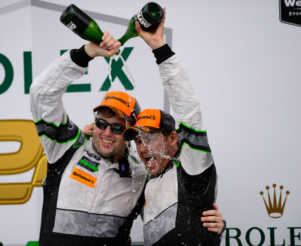 28-31  January, 2016, Daytona Beach, Florida USA Podium:  44, Audi, R8 LMS GT3, GTD, John Potter, Andy Lally celebrate on the podium. ©2016, Richard Dole LAT Photo USA