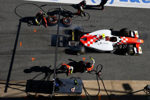 2016 GP2 Series Test 1. Circuit de Catalunya, Barcelona, Spain. Friday 11 March 2016. Daniel de Jong (NED, MP Motorsport), makes a pit stop World Copyright: Sam Bloxham/LAT Photographic. ref: Digital Image _L4R9642