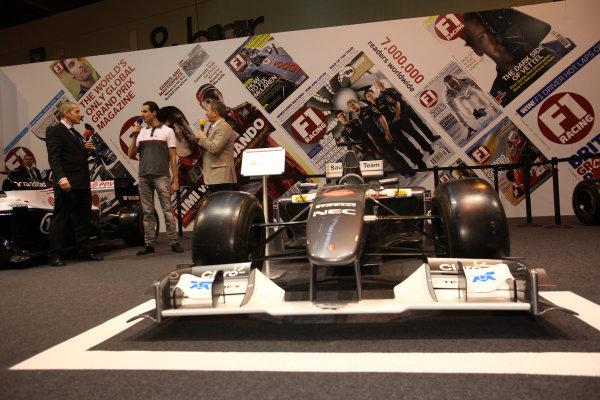 Autosport International Show NEC, Birmingham.  Sunday 12 January 2014. Adrian Sutil on the F1 Racing stand with Stuart Codling and Martin Brundle. World Copyright:Sam Bloxham/LAT Photographic ref: Digital Image IMG_8262