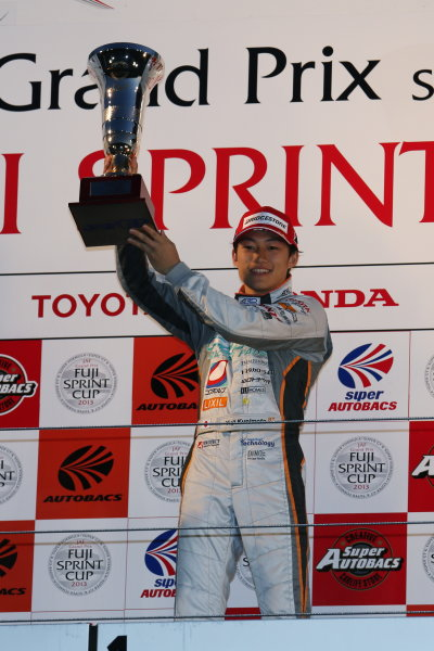Fuji, Japan. 23rd - 24th November 2013. Rd 7. Fuji Sprint Cup. Winner Yuji Kunimoto ( #39 P.MU/CERUMO·INGING ),  podium, portrait. World Copyright: Yasushi Ishihara/LAT Photographic. Ref: 2013JAF_GP_SF_011