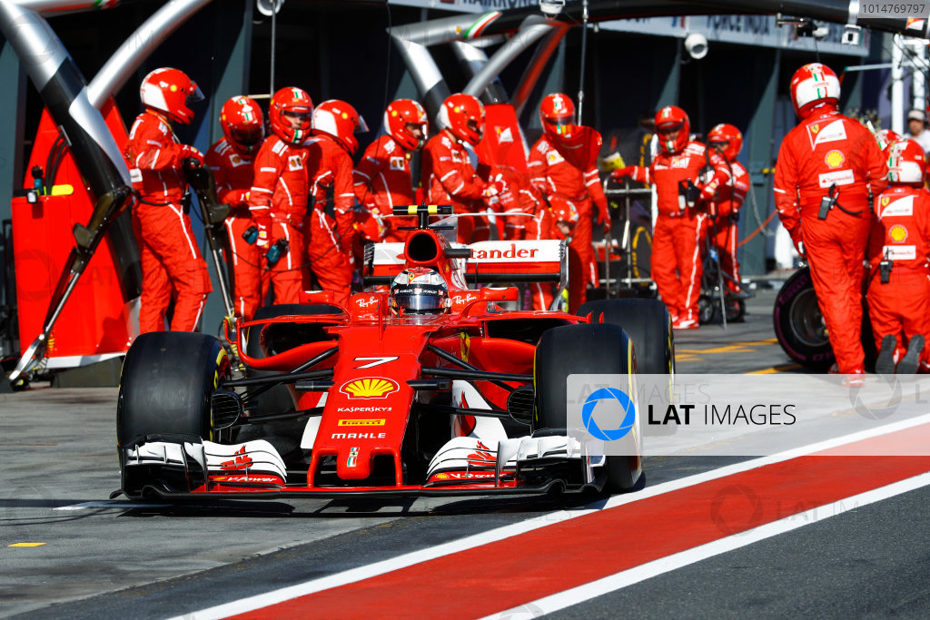 Albert Park, Melbourne, Australia. Sunday 26 March 2017. Kimi Raikkonen, Ferrari SF70H, leaves the pits. World Copyright: Steven Tee/LAT Images ref: Digital Image _R3I0804