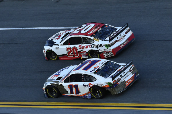 #11: Denny Hamlin, Joe Gibbs Racing, Toyota Camry FedEx Express and #20: Erik Jones, Joe Gibbs Racing, Toyota Camry Sports Clips