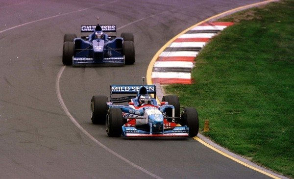 1997 Australian Grand Prix.Albert Park, Melbourne, Australia.7-9 March 1997.Gerhard Berger (Benetton B197 Renault) leads Olivier Panis (Prost JS45 Mugen Honda). They finished in 4th and 5th positions respectively.World Copyright - LAT Photographic