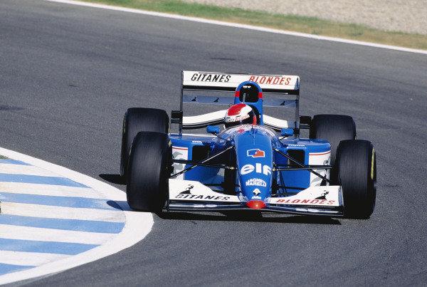 1994 European Grand Prix.Jerez, Spain. 14-16 October 1994.Johnny Herbert (Ligier JS39B Renault) 8th position.  Ref: 94EUR24. World Copyright - LAT Photographic