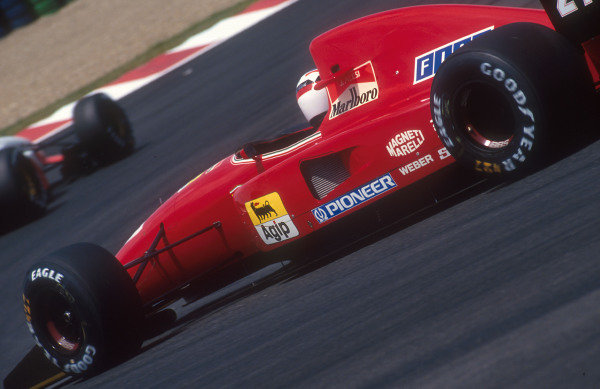 1992 French Grand Prix.Magny-Cours, France.3-5 June 1992.Jean Alesi (Ferrari F92A). He exited the race with an engine failure.Ref-92 FRA 12.World Copyright - LAT Photographic