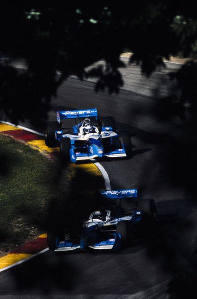 Patrick Carpentier, Forsythe Racing, Reynard 2KI Ford, leads Alex Tagliani, Forsythe Racing, Reynard 2KI Ford.