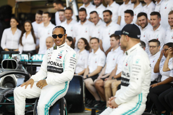 Lewis Hamilton, Mercedes AMG F1, and Valtteri Bottas, Mercedes AMG F1 pose or a group photo