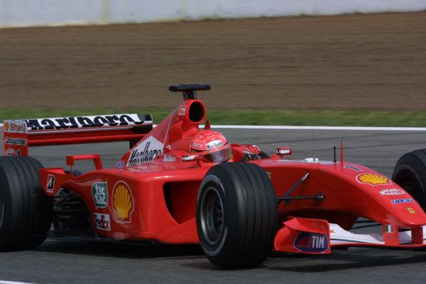 2001 Spanish Grand PrixCatalunya, Barcelona, Spain. 27-29 April 2001.Michael Schumacher (Ferrari F2001) 1st position.World Copyright - Elford/LAT Photographicref: 8 9 MB Digital File