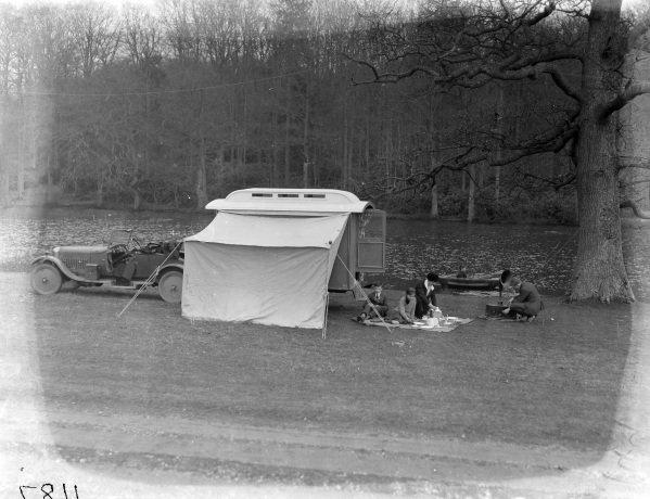 Eccles caravan and AC car with Gorgon England body.