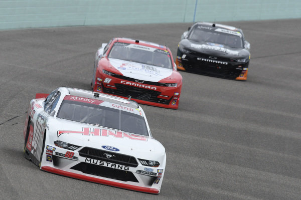 #00: Cole Custer, Stewart-Haas Racing, Ford Mustang Haas Automation, #51: Jeremy Clements, Jeremy Clements Racing, Chevrolet Camaro Fly and Form Structures, #8: Jeb Burton, JR Motorsports, Chevrolet Camaro State Water Heaters