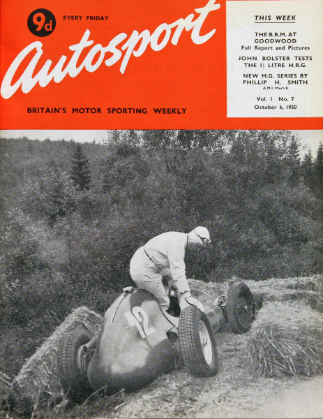 Cover of Autosport magazine, 6th October 1950. Main Picture: Giuseppe Farina climbs out of his Maserati 4CLT after crashing in the 1949 Belgian Grand Prix.