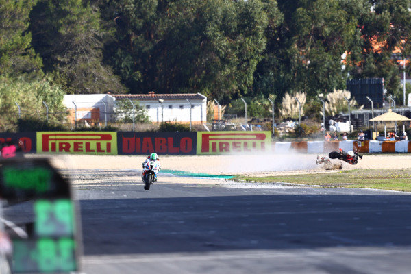 Eugene Laverty, BMW Motorrad WorldSBK Team, Sylvain Barrier crash in the background.